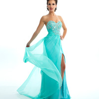 Mac Duggal Prom 2013 - Strapless Mint Chiffon Gown With Sequin &amp; Rhinestone Embellishments - Unique Vintage - Cocktail, Pinup, Holiday &amp; Prom Dresses.