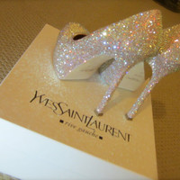 Yves Saint Laurent pump with stiletto heel strassed in Aurora Boreale Swarovski crystals