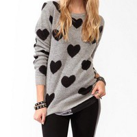 Heart Patterned Sweater | FOREVER21 - 2031557798
