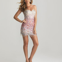 Purple & Nude Ombre Sequin Strapless Fitted Homecoming Dress - Unique Vintage - Cocktail, Pinup, Holiday & Prom Dresses.