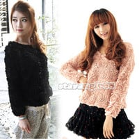 New Vintage Women 3D Rose Flower Mesh Applique Jumper Pullover Shirt Top SA88