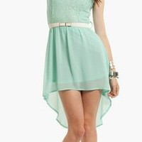 NWT MINT GREEN LACE AND CHIFFON HIGH LOW SHORT SLEEVE MIDI DRESS PARTY WEDDING