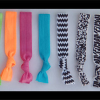 9 Elastic HAIR TIES Bright Neon Colors, Black and White, Chevron, Damask, Zebra Print - No Tug, No Dent, No Bump Valentines Gifts for Teen