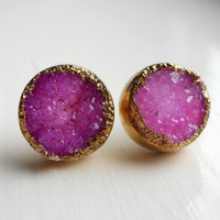 SALE pink gold dipped druzy stud earrings