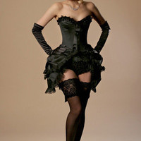 FairyGothMother - fgm-700 Black satin sweetheart corset with lush lace trims