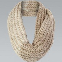 Beige Knit Circle Scarf