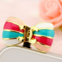 1pcs of Bling Bling Colorful Butterfly Bowknot iPhone Earphone Plug Dust Plug