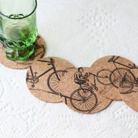 bike ride cork coaster set : Interior Designer : gift guide at ShopRuche.com, Vintage Inspired Clothing, Affordable Clothes, Eco friendly Fashion
