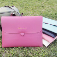 Newest Style Elegant Glossy Leather Sleeve Case Bag for iPad 2 - Purple
