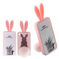 2011 Newly Cute Rabbit Bunny Rabito Rubber TPU Case Cover for iPhone 4 4G