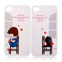 2 PCS Lovers Couple Simple Treasures Hard Plastic Case for iPhone 4 4S - White