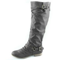 Top Moda Coco-1 Grey Knee High Motorcycle Riding Boots