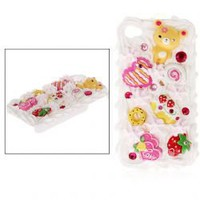 Fashion Personalized Yellow Bear &amp; Love Cream Cake Pattern Hard Case Cover for iPhone 4