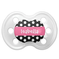 Adorable Polka Dots Baby Girl Custom Name Pacifier