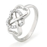 Sterling Silver Heart Infinity Ring w/ Cubic Zirconia (Size 6) Available Size: 4, 4.5, 5, 5.5, 6, 6