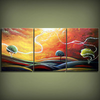 original abstract art painting yellow red orange green surreal fantasy triptych lollipop tree painting yellow gold red cloud sunset 54 x 24