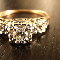 $975.00 Vintage Diamond Engagement Ring or Wedding Ring Free Shipping by RiordanStudio