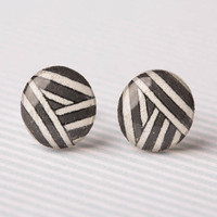 Grey and White Striped Post Earrings