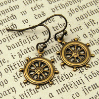 $10.50 Brass Ship Wheel Earrings RagTraderVintage.com