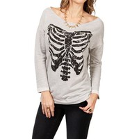 Heather Gray Rib Cage Dolman Sweater