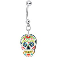 Amazon.com: White Sugar Skull Belly Ring: Body Candy: Jewelry