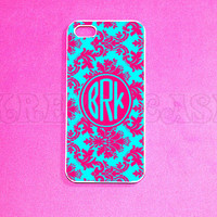 iPhone 5 Case Damask Pattern with Monogram iPhone 5 by KrezyCase