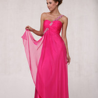 Hot Pink &amp; Silver Beaded Chiffon One Shoulder Prom Dress - 4 to 20 - Unique Vintage - Cocktail, Pinup, Holiday &amp; Prom Dresses.