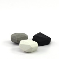 Pebble erasers in a set of 3 colors