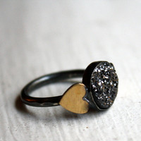 Midnight Black Drusy with Brass Hearts by RachelPfefferDesigns