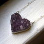 Handmade Amethyst Crystal Heart Necklace by RachelPfefferDesigns