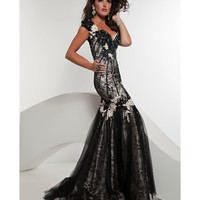 Jasz Couture 2013 Prom - Black & Ivory Laced Mermaid Gown - Unique Vintage - Cocktail, Pinup, Holiday & Prom Dresses.