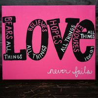 Canvas Painting  Love  1 Corinthians 137 by JordansCanvas on Etsy