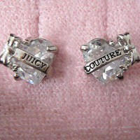 Auth Juicy Couture Faceted Heart with &quot;Juicy&quot; Banner Stud Earrings Studs $48