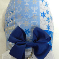Chanukkah Hanukkah Dreidel Star of David Menorah Dreidel Theme Harness with Bow & Lace. Custom made for your Cat, Dog or Ferret.