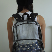Clear Studded Backpack with Black Outlining