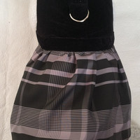 Holiday Bridal Party or special Occasion, a Velvet Black & Gray Plaid Custom Harness Dress. Perfect Item for your Cat, Dog or Ferret.