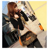 Korean Style Fur Embellished Agraffe and Zipper Design Handbag/Slanting Bag/One-Shoulder Bag For Female China Wholesale - Sammydress.com