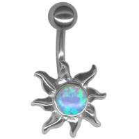 Sun Belly Ring-Gorgeous Faux Opal Sun Belly Button Ring-Stainless Steel 14 gauge 3/8 Barbell-Navel Ring