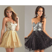 """New Shining Sequin Attire Bodice Short Bridal Prom Cocktail Party Evening Dress"