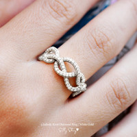 Infinity Diamond Band - 3 Infinity Knots Pave Diamonds - Choose 14K White, Yellow, or Rose Gold