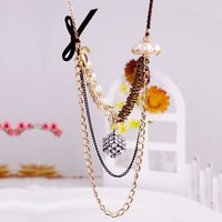 $8.99  Luxury Gold Tone Clear Rhinestone CubePearl Bib Necklace at Online Cheap Fashion Jewelry Store Gofavor