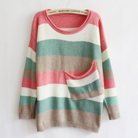 Multicolor Striped Pocket Sweater