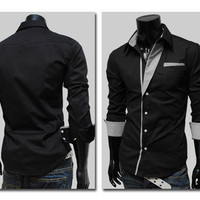 Mens Casual Stripes Slim...