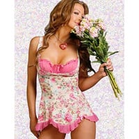 Attractive Floral Satin Chemise
