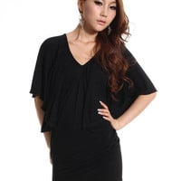 Bright Open Back Show Body Bat-wing Dresses Black : Wholesaleclothing4u.com