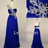 One Shoulder Sweetheart with Beading Chiffon Long by LvsFashion