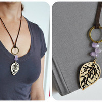 Cutout Wood Leaf Necklace. Hippie Woodland Jewelry. Purple Quartz Stone. Suede Brown Cord Necklace.