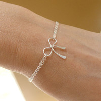 Bridesmaid gifts silver bow bracelet Tiffany by BriguysGirls