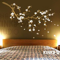Wall Decal Wall Sticker tree decal - Cherry Blossom branch butterflies wall decals - KK117