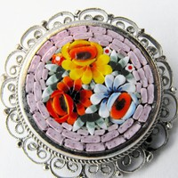 Rare Pink Speckled Tile Round Micro Mosaic Brooch from giltygirlvintage on Ruby Plaza